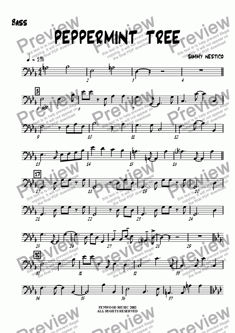page one of the Bass part from Peppermint Tree