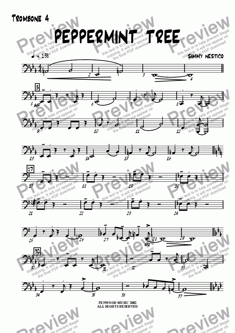 page one of the Trombone 4 part from Peppermint Tree