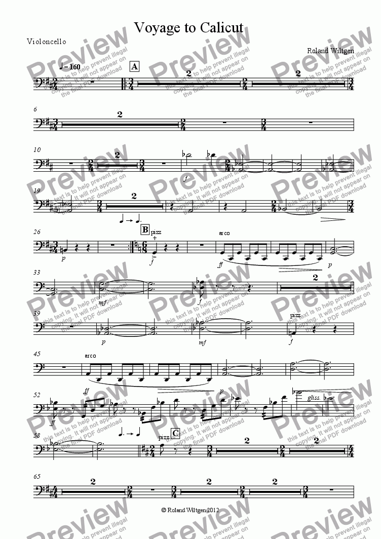 page one of the Violoncello part from Voyage to Calicut