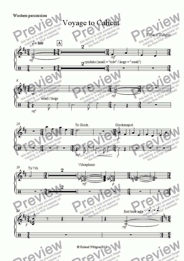 page one of the Western percussion part from Voyage to Calicut