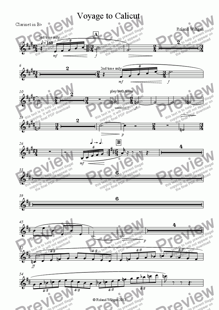 page one of the Clarinet in B^b part from Voyage to Calicut