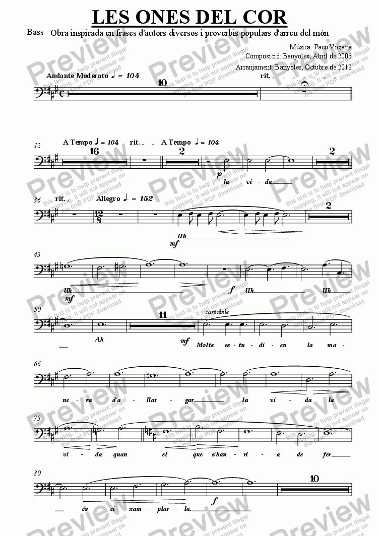 page one of the Bass part from 189-Les ones del cor (chamber version Nr. 1) (catalan)