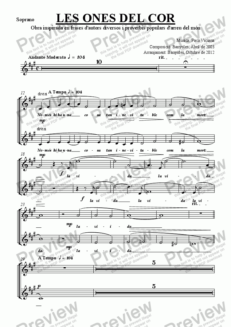 page one of the Soprano part from 189-Les ones del cor (chamber version Nr. 1) (catalan)
