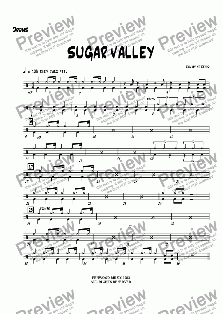page one of the Drums part from Sugar Valley