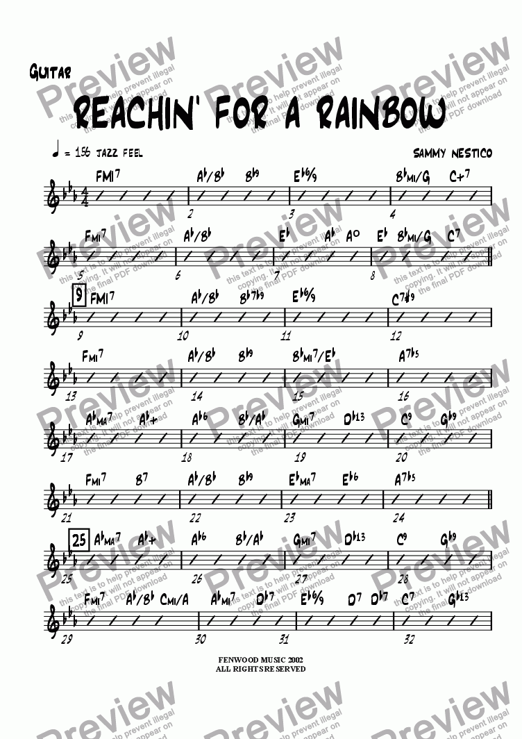 page one of the Guitar part from Reachin' For A Rainbow