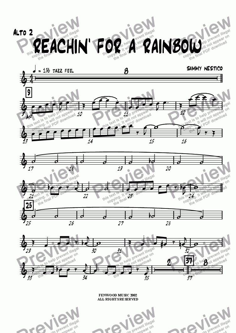 page one of the Alto Sax 2 part from Reachin' For A Rainbow