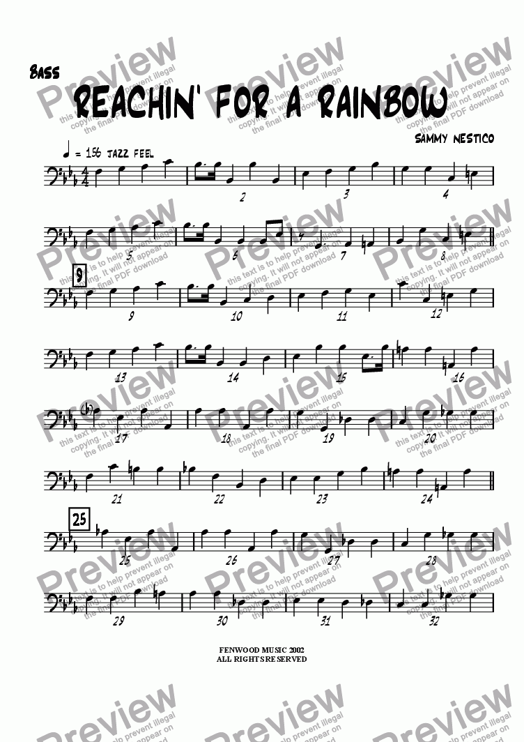 page one of the Bass part from Reachin' For A Rainbow