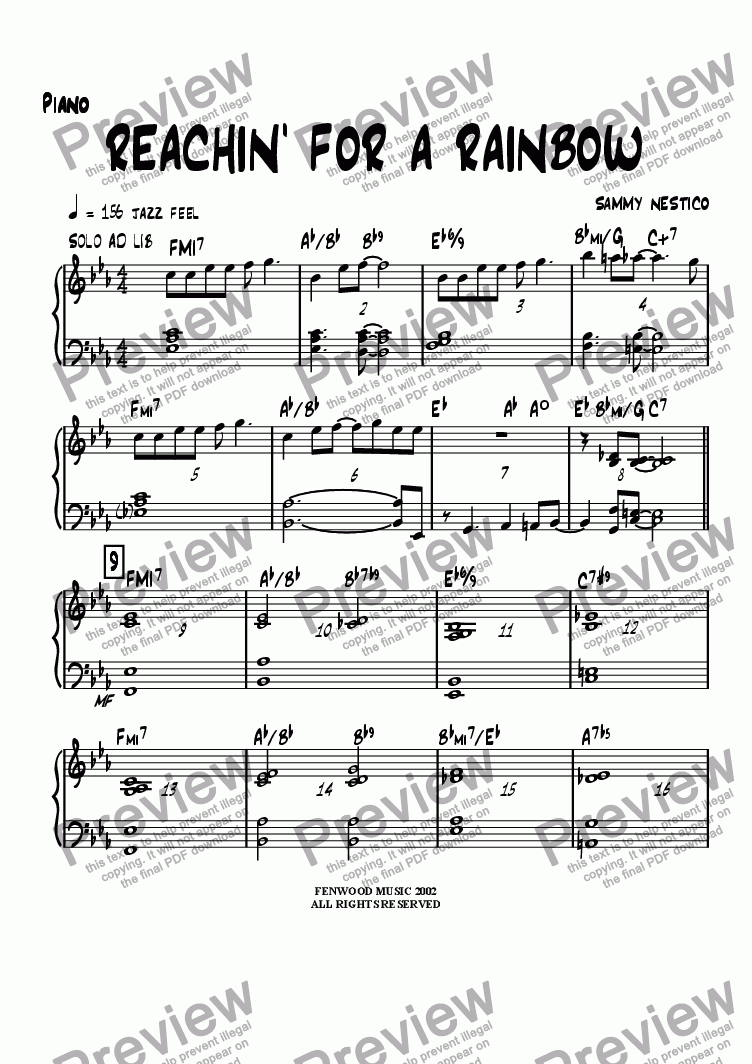 page one of the Piano part from Reachin' For A Rainbow
