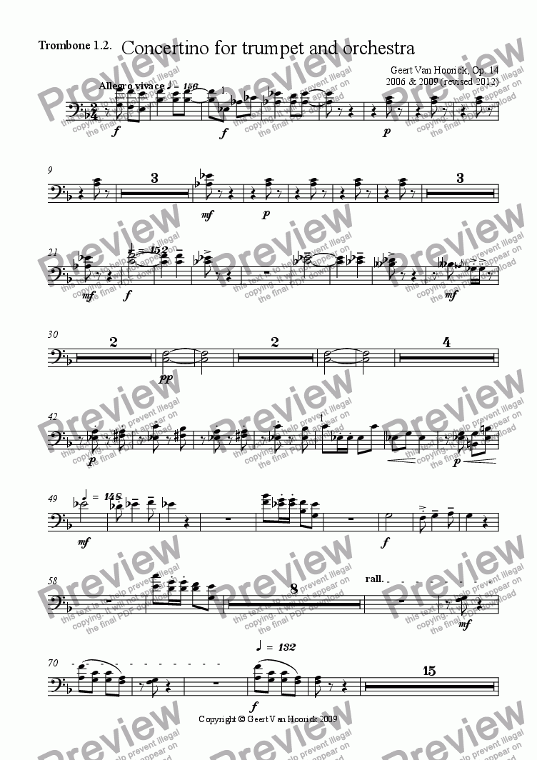 page one of the Trombone 1.2. part from Concertino for trumpet and orchestra