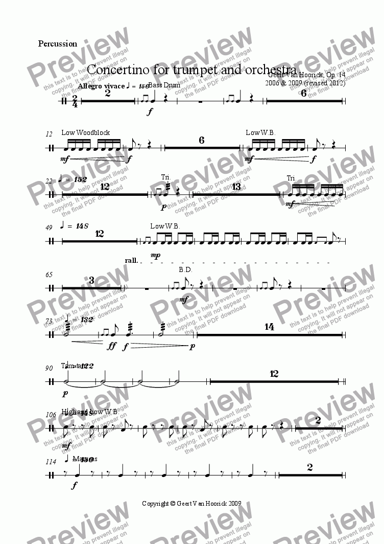 page one of the Percussion part from Concertino for trumpet and orchestra