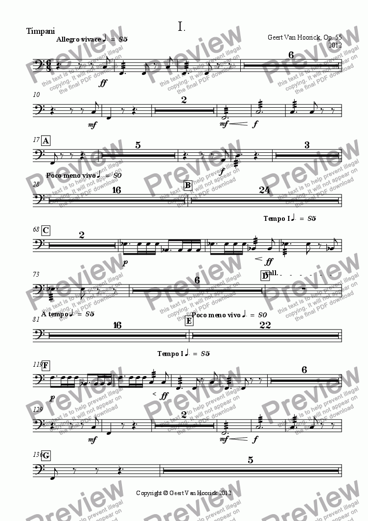 page one of the Timpani part from Concerto No. 1 in F major for trumpet and orchestra, Op. 55 - I Allegro vivace