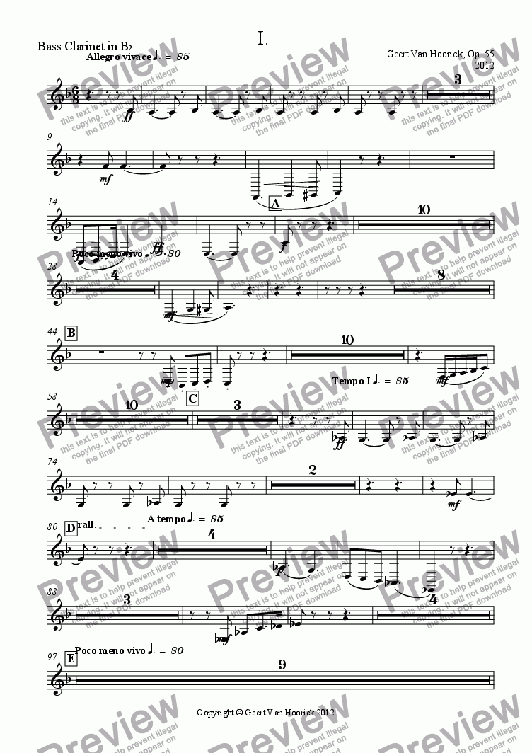 page one of the Bass Clarinet in B^b part from Concerto No. 1 in F major for trumpet and orchestra, Op. 55 - I Allegro vivace