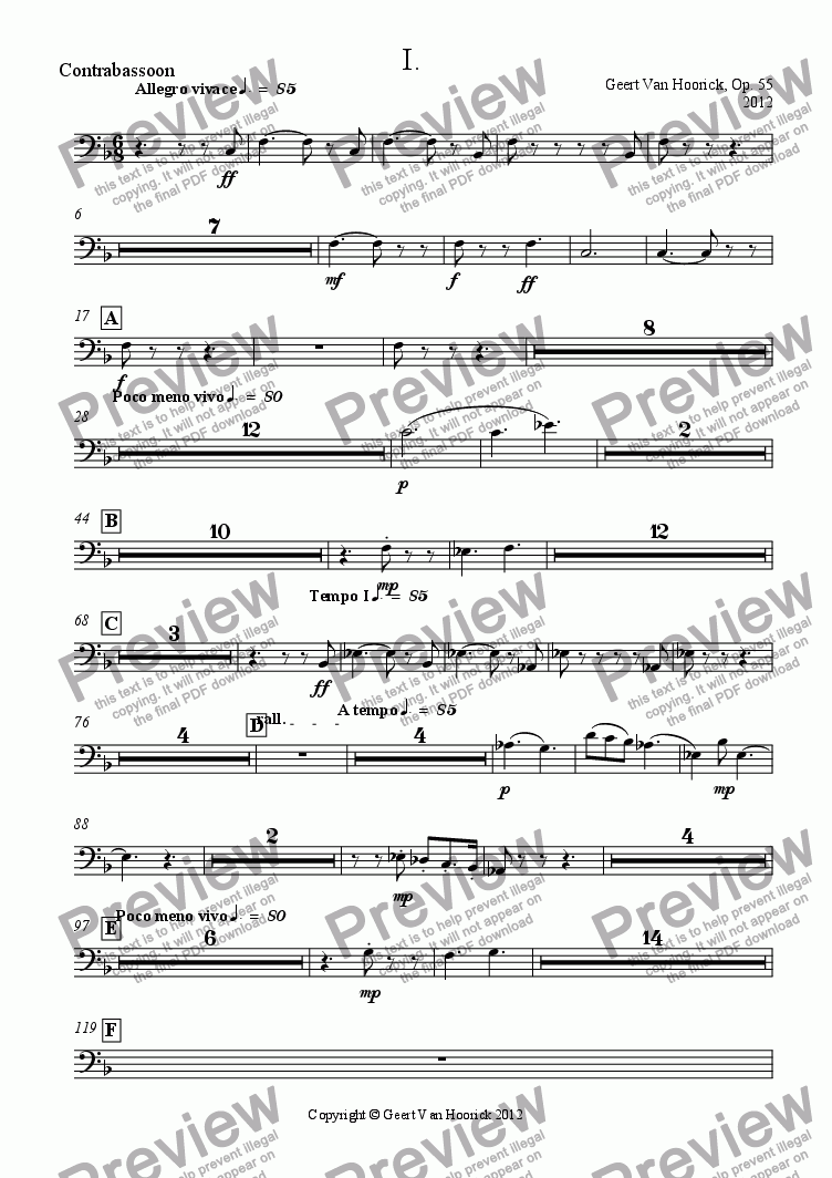 page one of the Contrabassoon part from Concerto No. 1 in F major for trumpet and orchestra, Op. 55 - I Allegro vivace