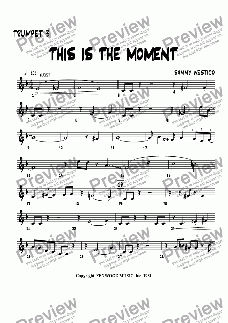 page one of the Trumpet 3 part from This Is The Moment   (young edition)