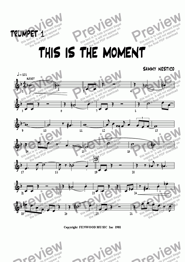 page one of the Trumpet 1 part from This Is The Moment   (young edition)