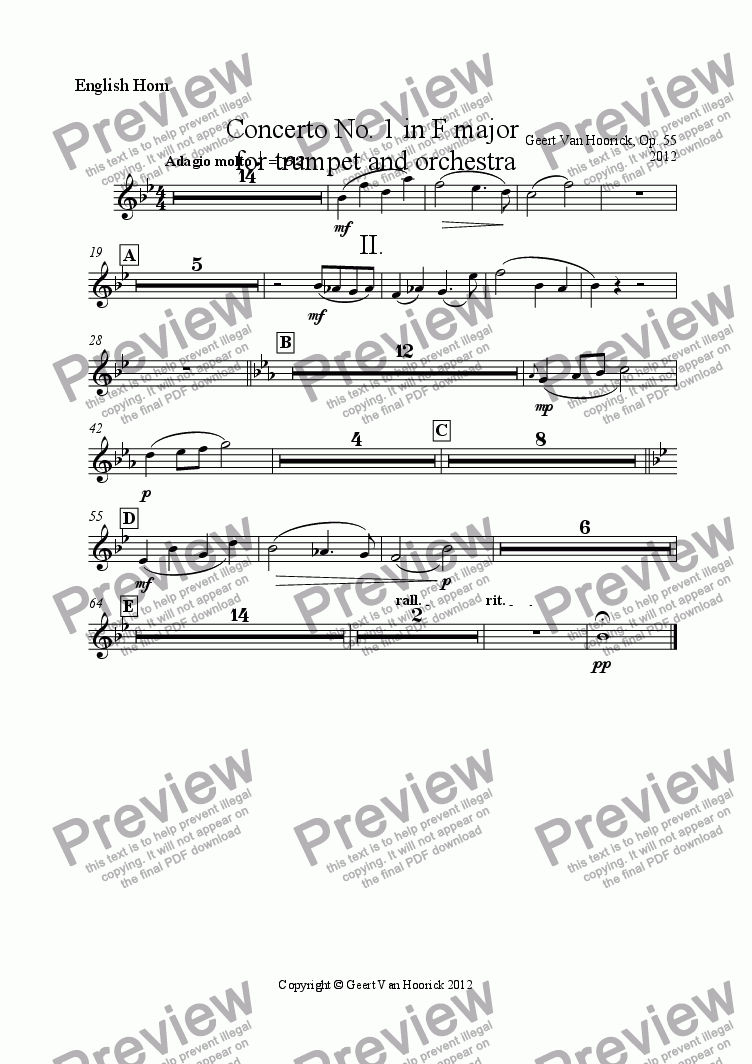 page one of the English Horn part from Concerto No. 1 in F major for trumpet and orchestra, Op. 55 - II Adagio molto