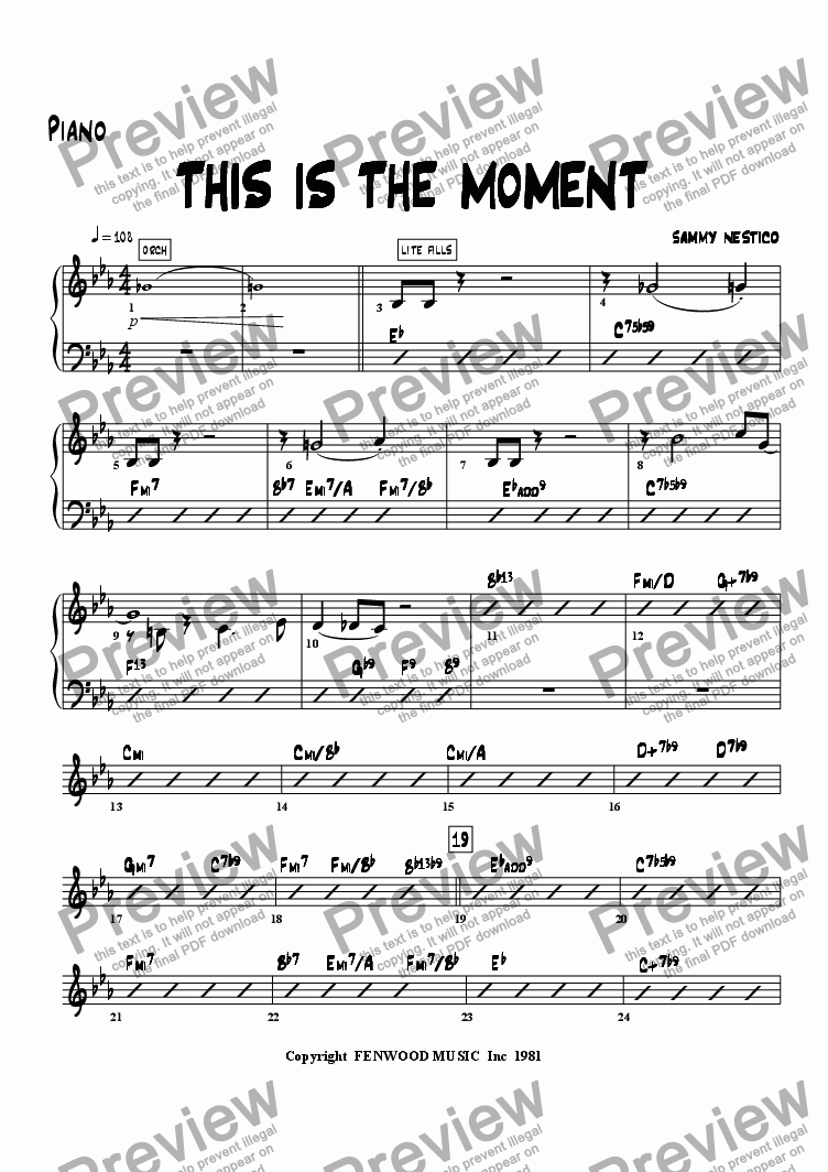 page one of the Piano part from This Is The Moment   (young edition)