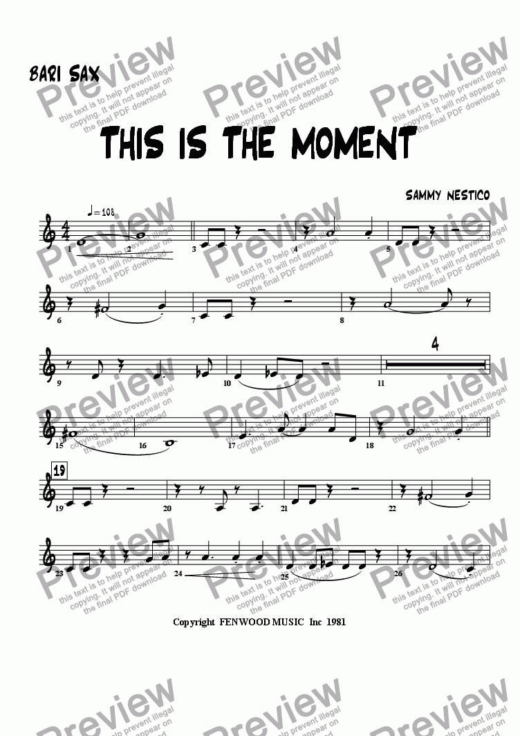 page one of the Baritone part from This Is The Moment   (young edition)