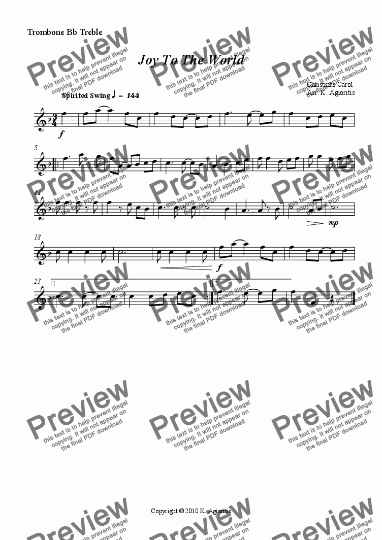 page one of the Trombone Bb Treble part from Joy To The World - Jazz Carol for Brass Quartet