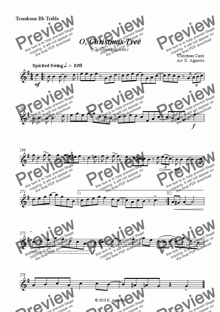page one of the Trombone Bb Treble part from O Christmas Tree (O Tannenbaum) - Jazz Carol for Brass Quartet