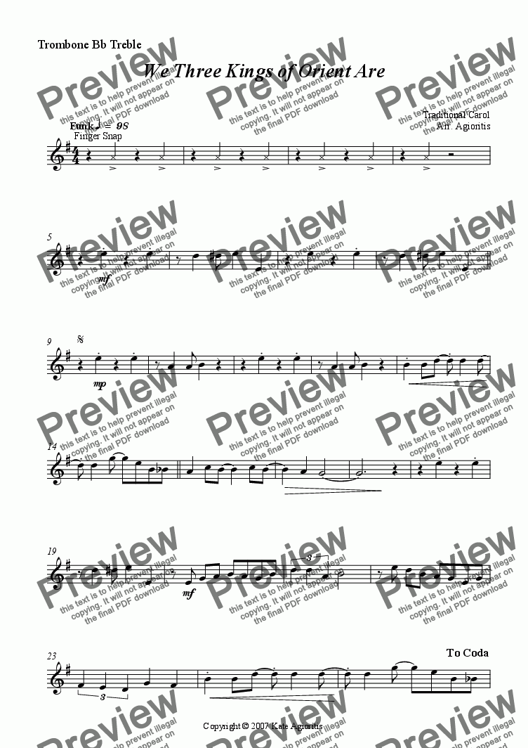 page one of the Trombone Bb Treble part from We 3 Kings of Orient Are - Brass Quartet