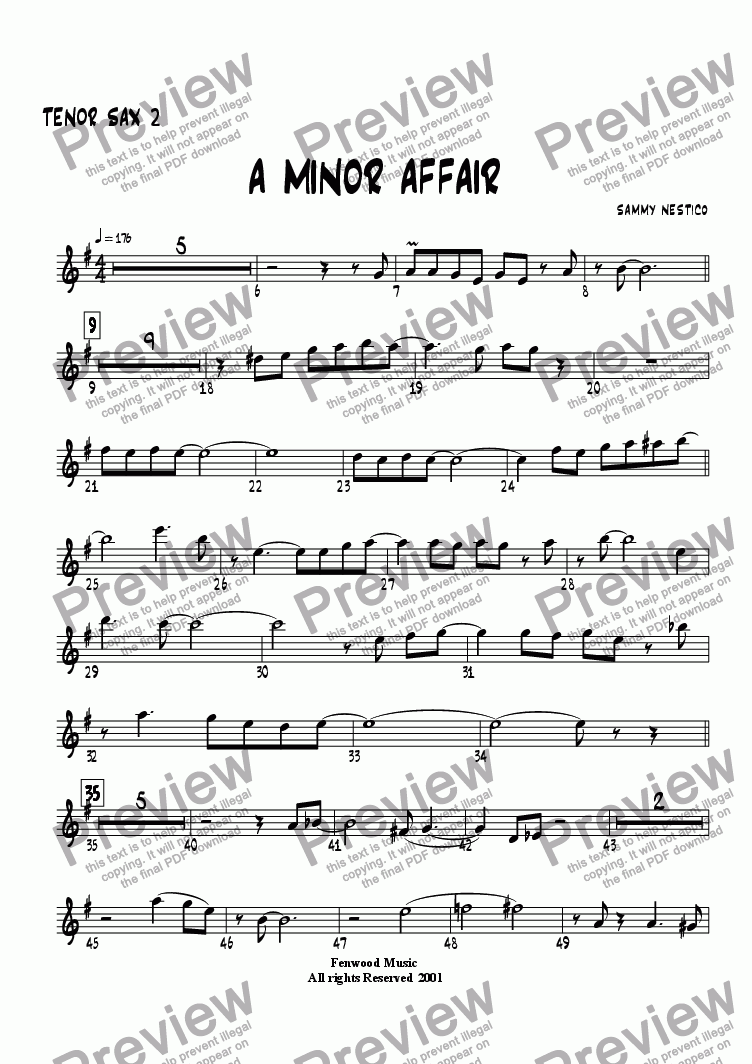 page one of the Tenor Sax 2 part from A Minor Affair