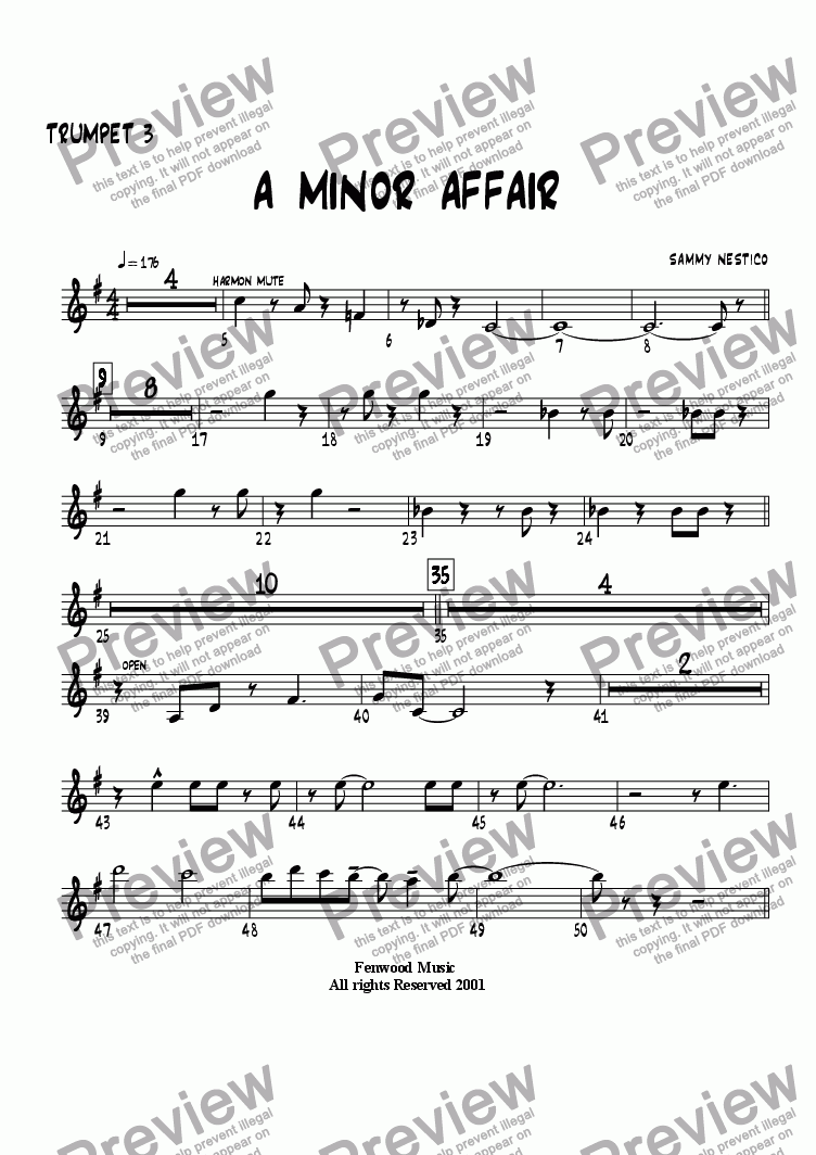 page one of the Trumpet 3 part from A Minor Affair