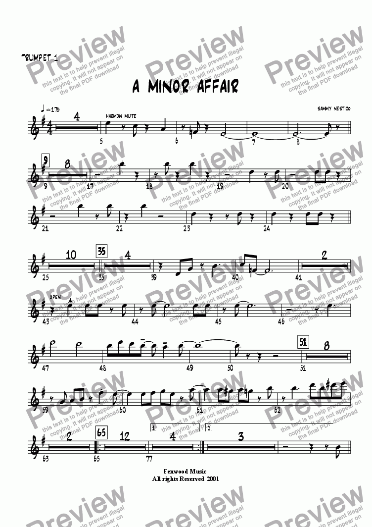 page one of the Trumpet 1 part from A Minor Affair