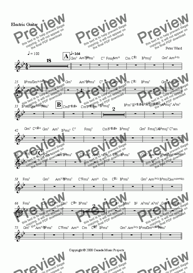 page one of the Electric Guitar part from JAZZ CAROUSEL a jazz suite