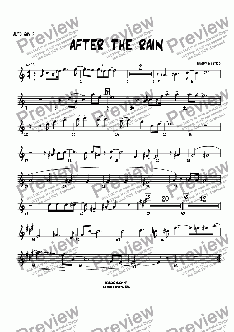 page one of the Alto Sax 2 part from After The Rain