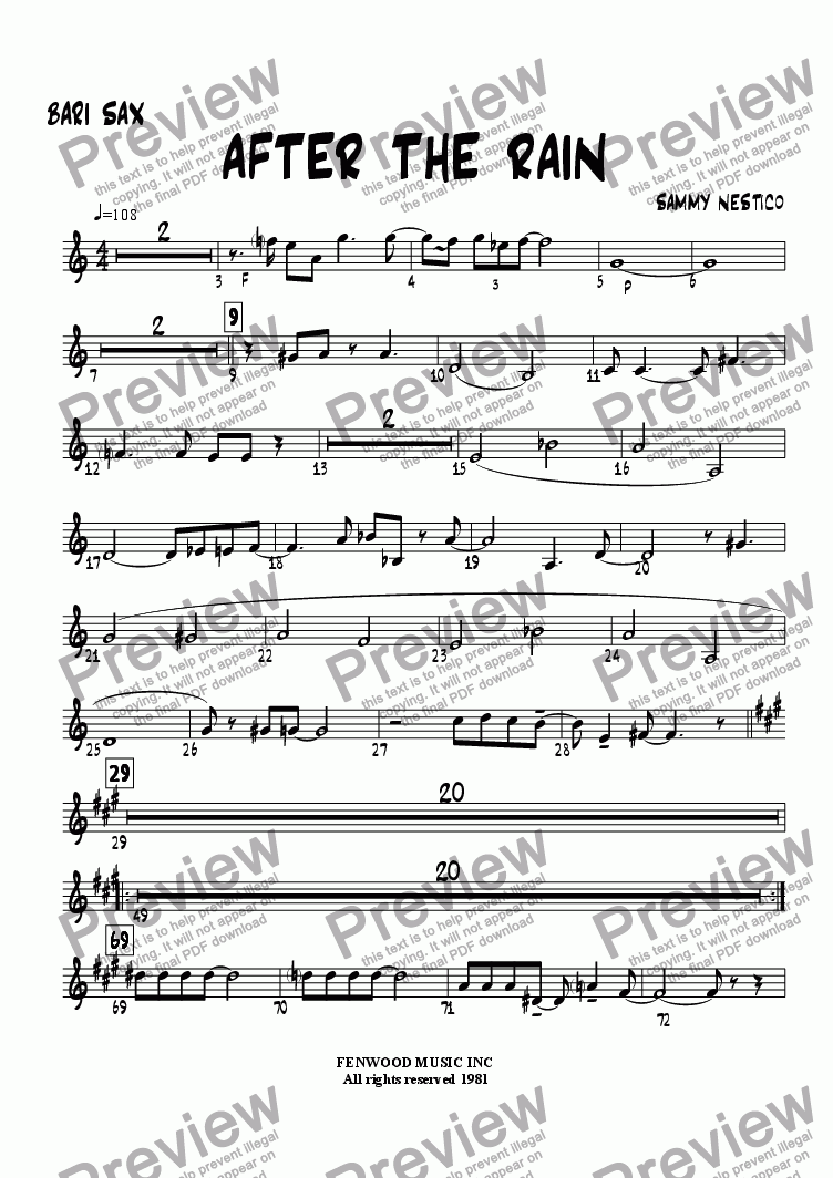 page one of the Baritone part from After The Rain
