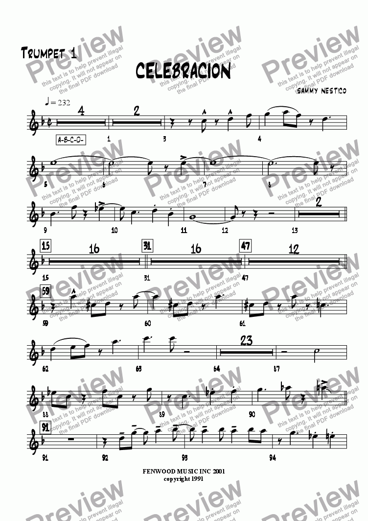 page one of the Trumpet 1 part from Celebracion