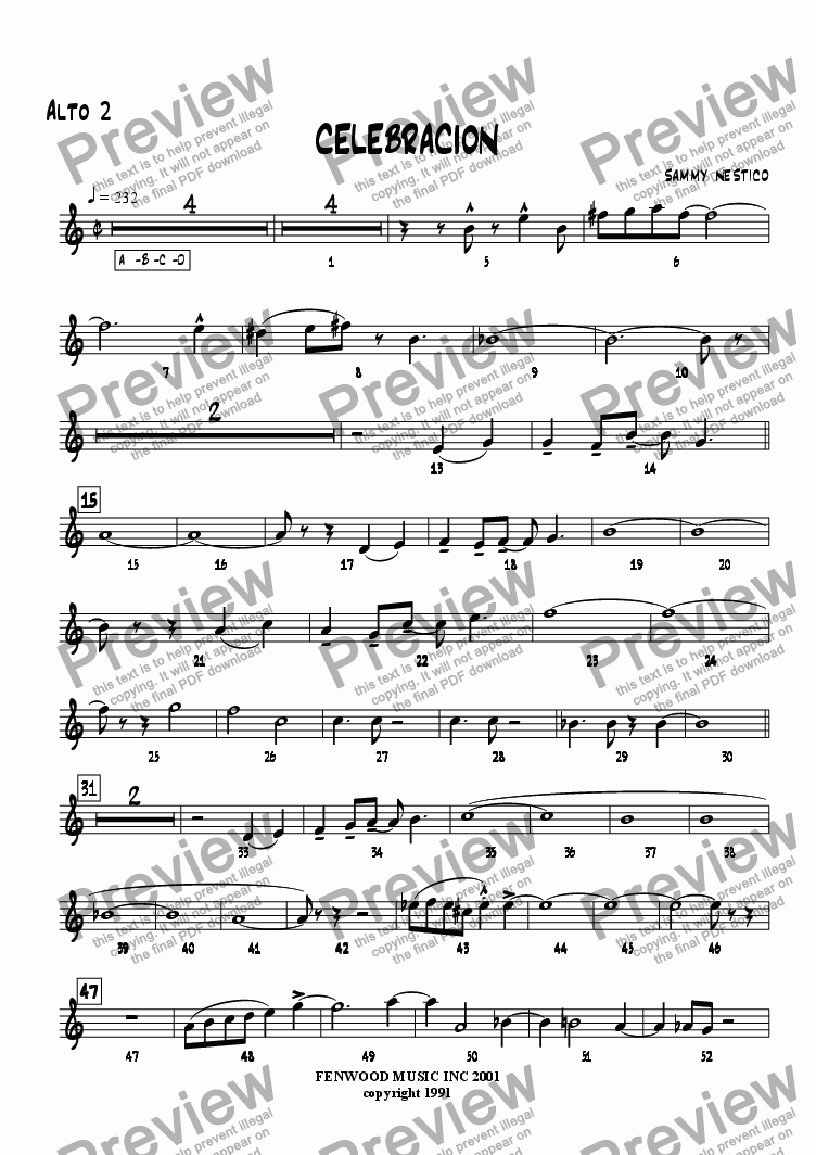page one of the Alto Sax 2 part from Celebracion