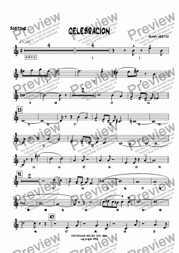 page one of the Baritone part from Celebracion