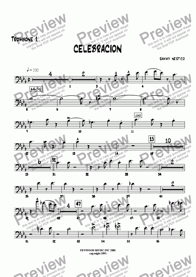 page one of the Trombone 1 part from Celebracion