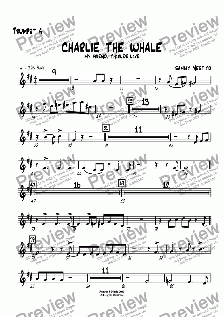 page one of the Trumpet 4 part from Charlie The Whale