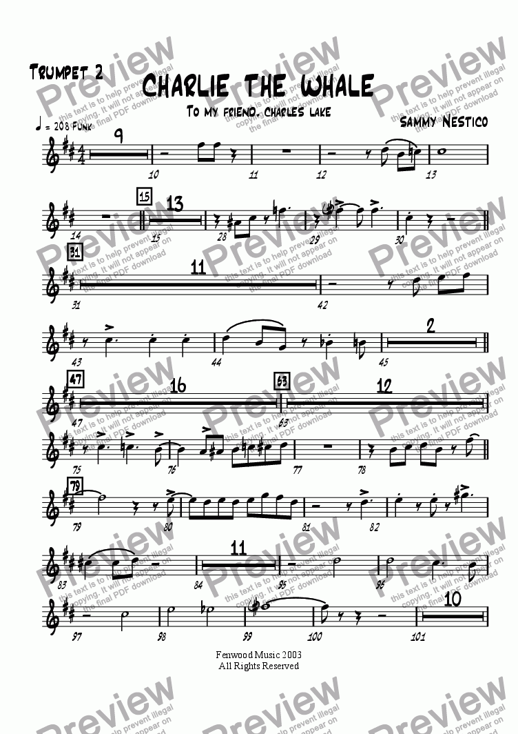 page one of the Trumpet 2 part from Charlie The Whale