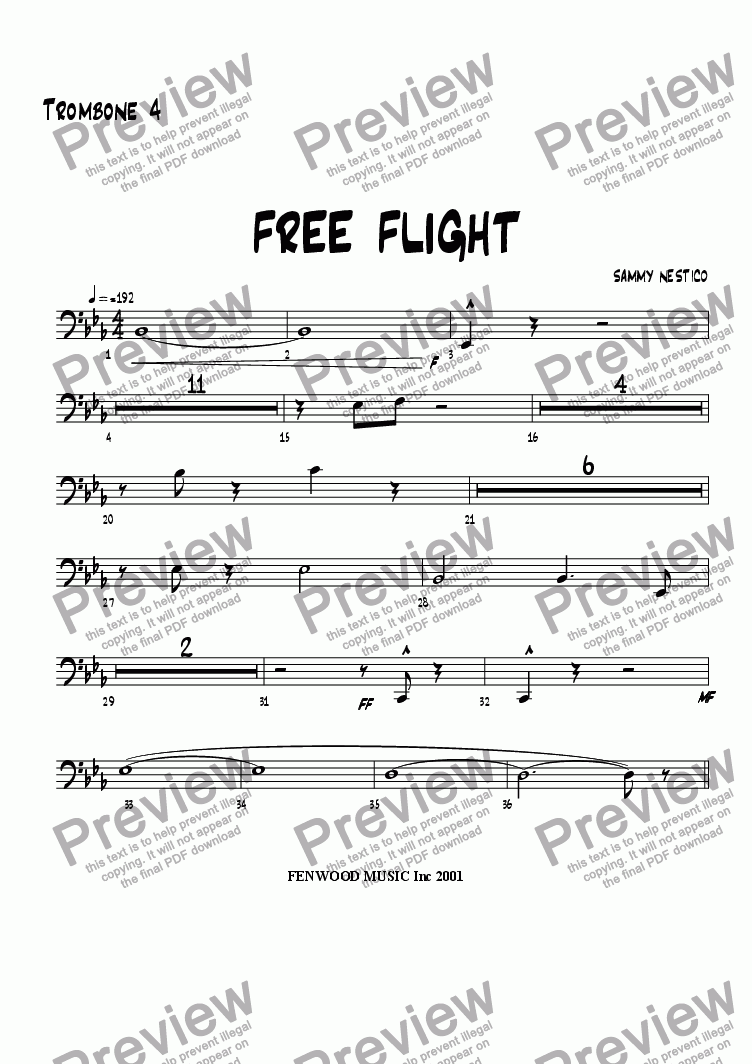 page one of the Trombone 4 part from Free Flight!
