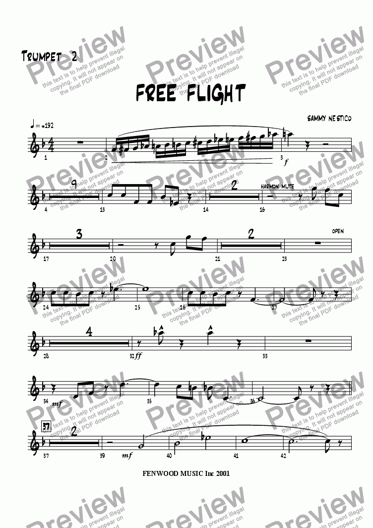 page one of the Trumpet 2 part from Free Flight!