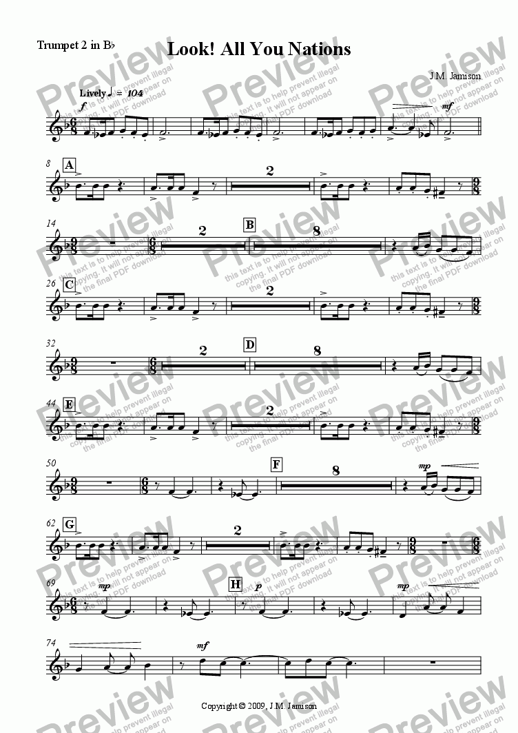 page one of the Trumpet 2 in B^b part from Look! All You Nations