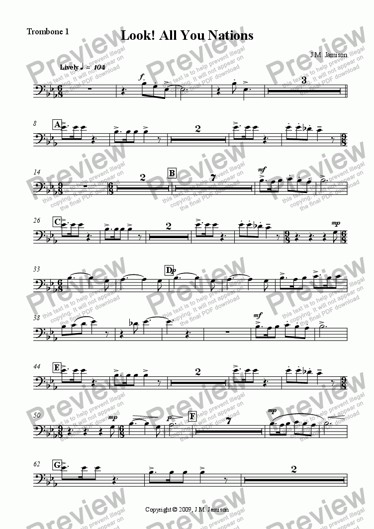 page one of the Trombone 1 part from Look! All You Nations