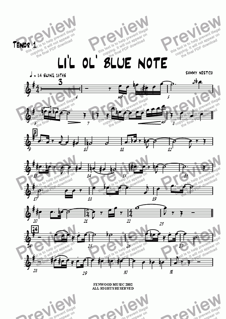 page one of the Tenor Sax 1 part from Li'l Ol' Blue Note