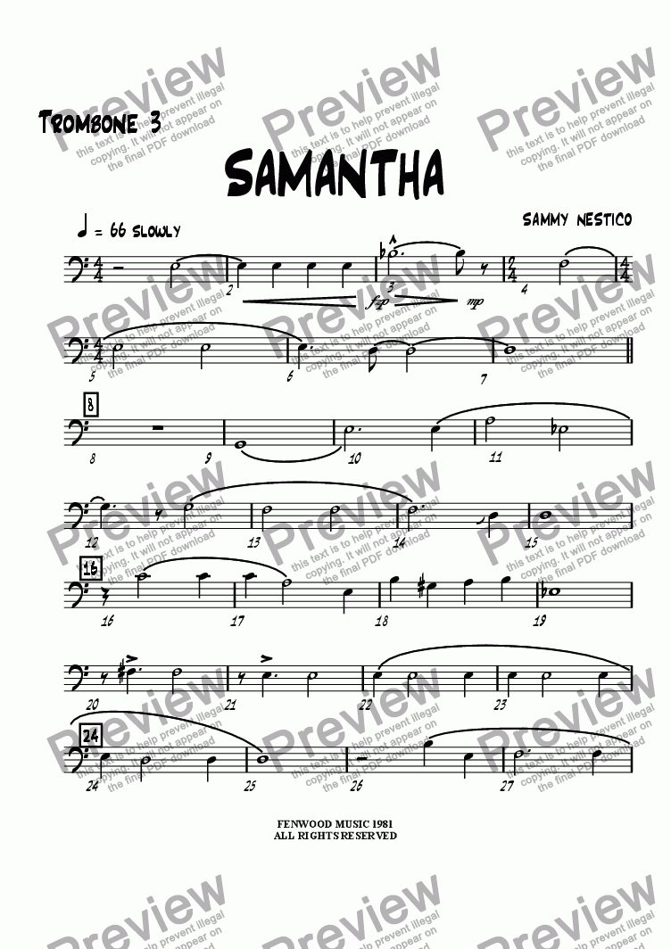 page one of the Trombone 3 part from Samantha