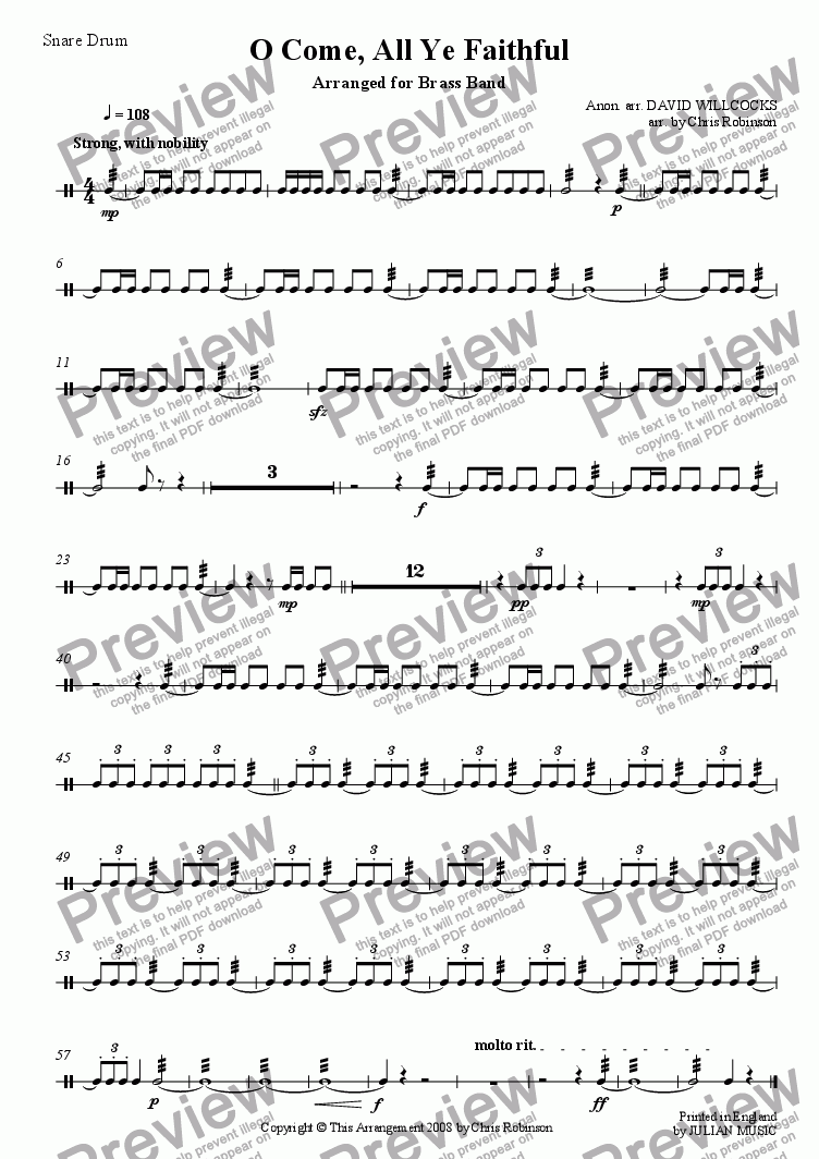 page one of the Snare Drum part from O Come, All Ye Faithful