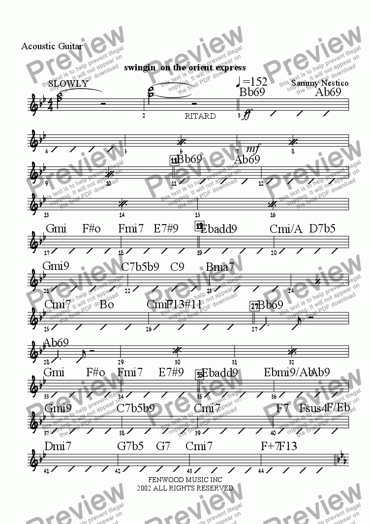 page one of the Acoustic Guitar part from Swingin' On The Orient Express
