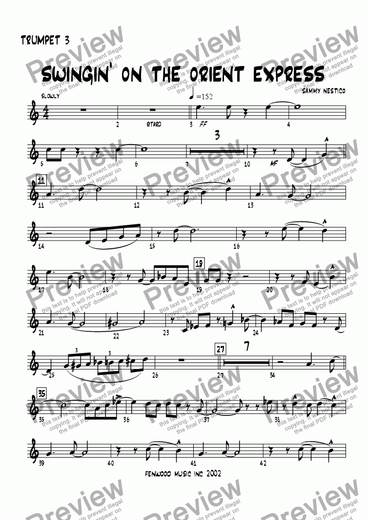 page one of the Trumpet 3 part from Swingin' On The Orient Express