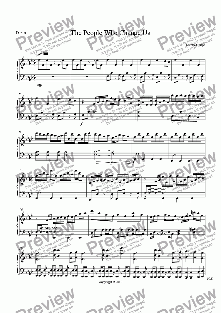 page one of the Piano part from The People Who Change Us