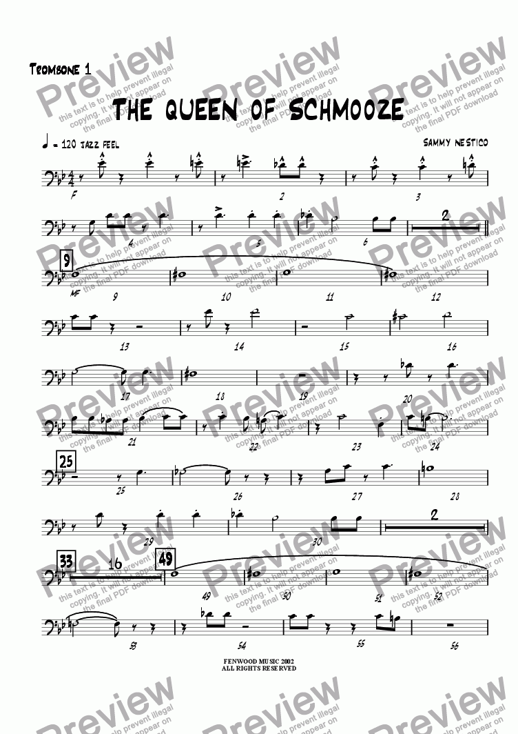 page one of the Trombone 1 part from The Queen of Schmooze