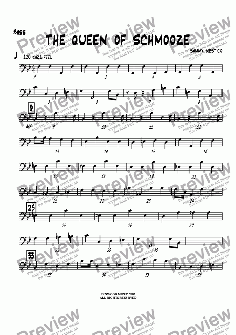 page one of the Bass part from The Queen of Schmooze