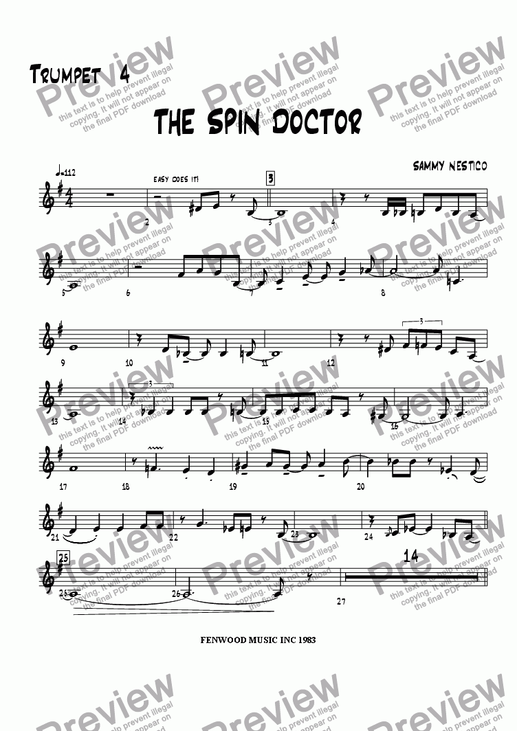page one of the Trumpet 4 part from The Spin Doctor